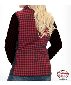 COWGIRL TUFF WOMEN'S REVERSIBLE PLAID VEST  - STYLE #F00404