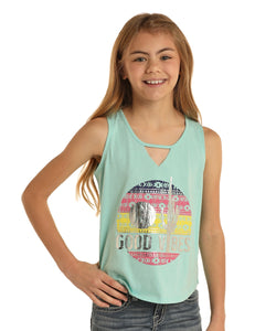 Rock & Roll Cowgirl Girls' Good Vibes Tank- Style #G1-5792