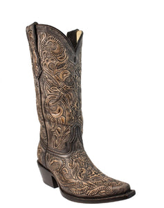 Corral Women's Black Tooled Boot- Style #G1385