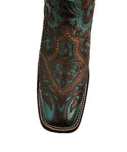 Corral Women's Turquoise And Brown Overlay Western Boot- Style #G1416-TURQOUISE/BROWN