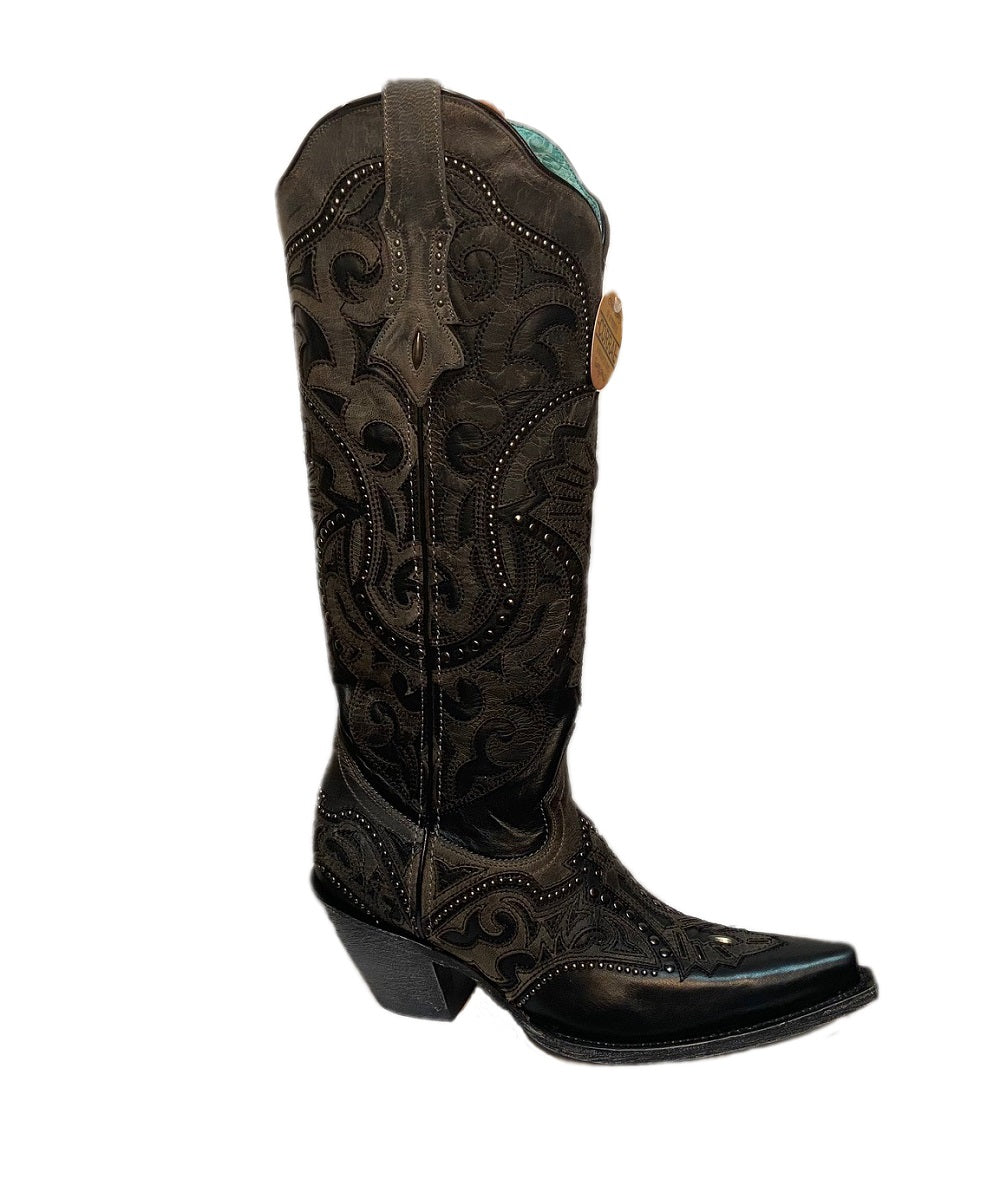 Corral Women's Black And Gray Laser Embroidered Boot- Style #G1443