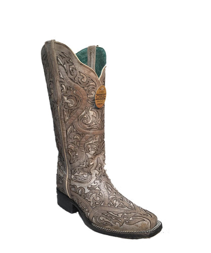 Corral Women's White Full Inlay Leather Boot- Style #G1488-WHITE