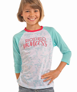 Rock & Roll Cowgirl Girls' Rodeo Princess Baseball Tee- Style #R0D1034 68