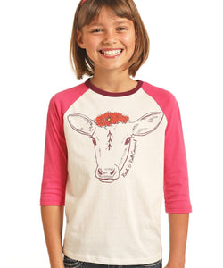 PANHANDLE GIRLS'  ROCK & ROLL COWGIRL THREE QUARTER SLEEVE TEE- STYLE #G4T9187
