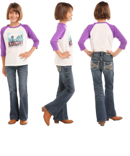 Rock & Roll Cowgirl Girls' Boot Cut Jean- Style #G5-5105