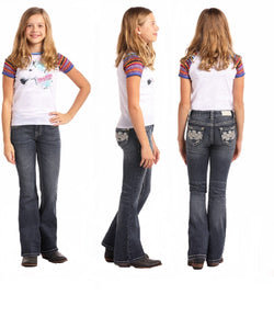 PANHANDLE GIRLS' ROCK & ROLL COWGIRL BOOT CUT JEAN- STYLE #G5-6681