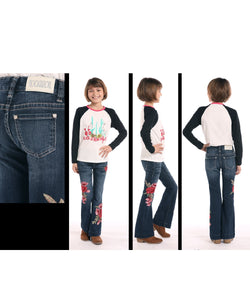 Rock & Roll Cowgirl Girls' Rose Embroidered Trouser-Style #G5F8737