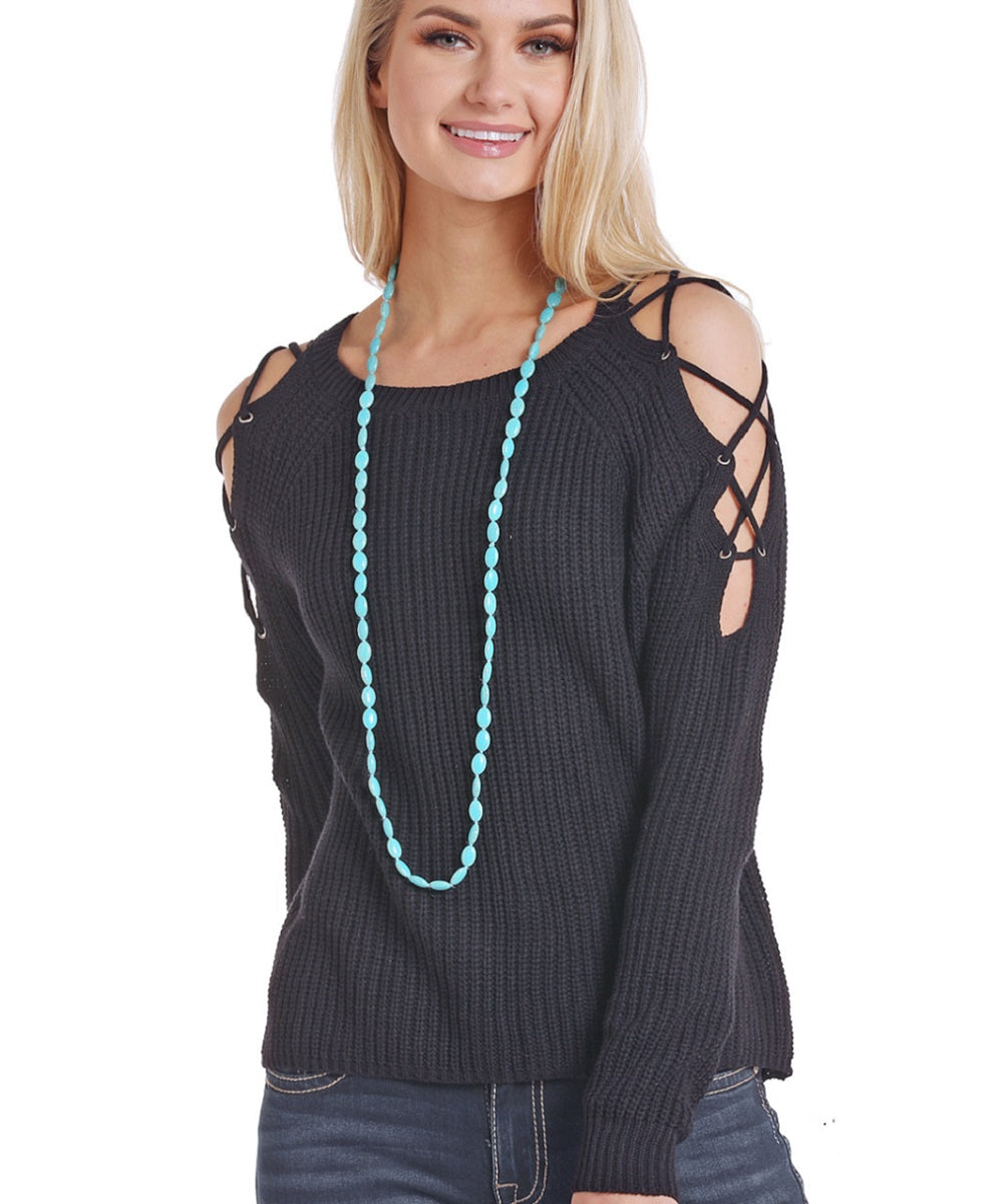 Panhandle Women's Black Cold Shoulder Sweater- Style #J8-3496