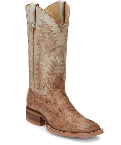 Justin Men's Breck Smooth Ostrich Wide Square Toe Boot- Style #JE800
