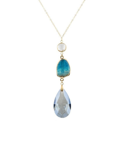 JANE MARIE WOMEN'S TEAR DROP STONE DANGLE NECKLACE- STYLE #JM5319N-CLRBL