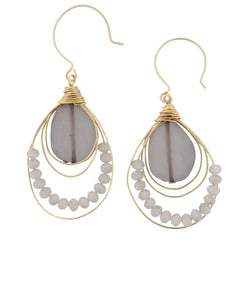JANE MARIE WOMEN'S GRAY STONE AND BEADS EARRINGS- STYLE #JM7305E-GREY