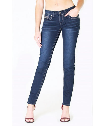 Grace In La Women's Straight Leg Jean With Feathers- Style #JNW9129