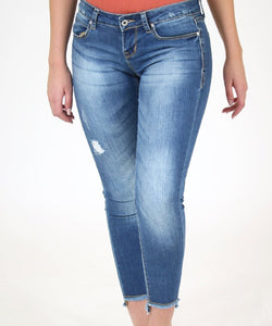 Grace In LA Women's Unfinished Hem Skinny Jean- Style #JNW-9244-LIGHT BLUE
