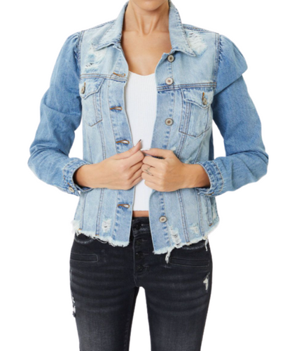 Kancan Women's Princess Sleeve Denim Jacket- Style #KC6344L