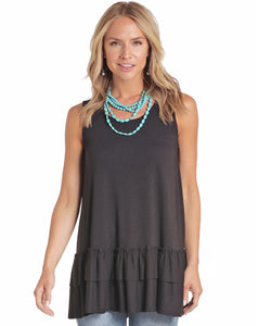 Panhandle Women's Long Black Tank- Style #L7T4399