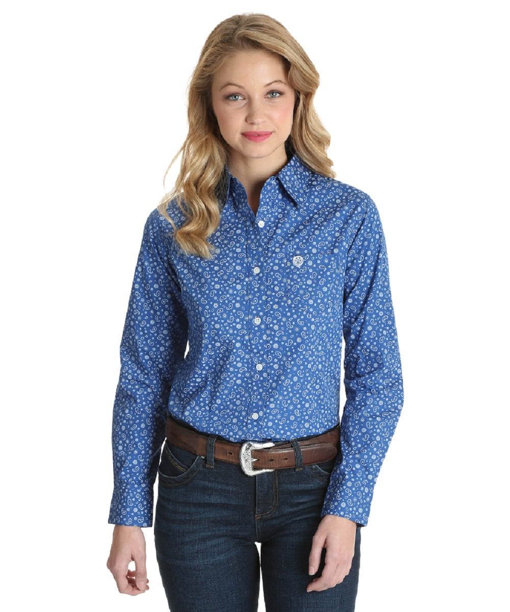 Wrangler Women's George Strait For Her Paisley Print Button Down Shirt- Style #LGSB658-BLUE/WHITE