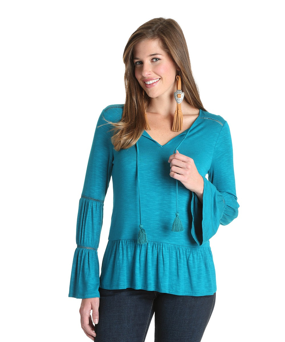 Wrangler Women's Turquoise Bell Sleeve Fashion Top- Style #LWK370G