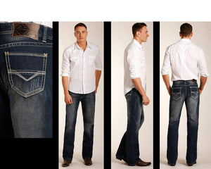 Rock & Roll Cowboy Hombres Doble Barril Pierna Recta Jean- Estilo #M0S3488