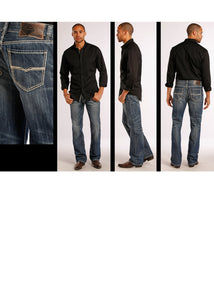 Rock & Roll Cowboy Men's Double Barrel 'V' Embroidery Jean- Style #M0S8553