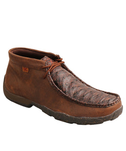 Twisted X Men's Brown Ostrich Chukka Driving Moc- Style #MDM0087