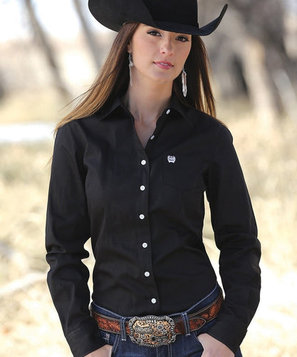 Cinch Women's Black Western Button Down Shirt- Style #MSW9164027