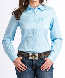 CINCH WOMEN'S BLUE AND WHITE STRIPED BUTTON DOWN SHIRT- STYLE #MSW9164086