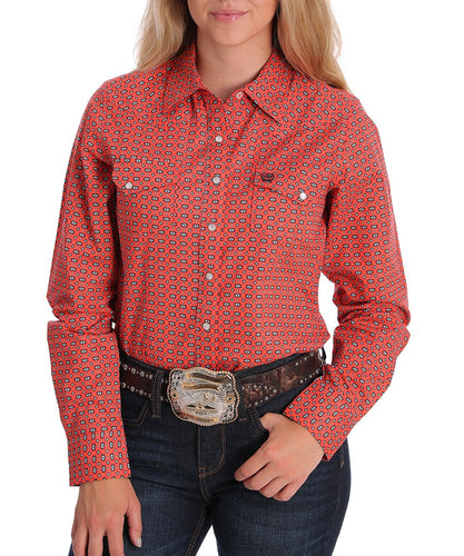 Cinch Women's Coral Southwest Print Western Snap Shirt- Style #MSW9201012