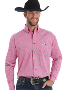 WRANGLER MEN'S TOUGH ENOUGH TO WEAR PINK BUTTON DOWN SHIRT- STYLE #MTP261M