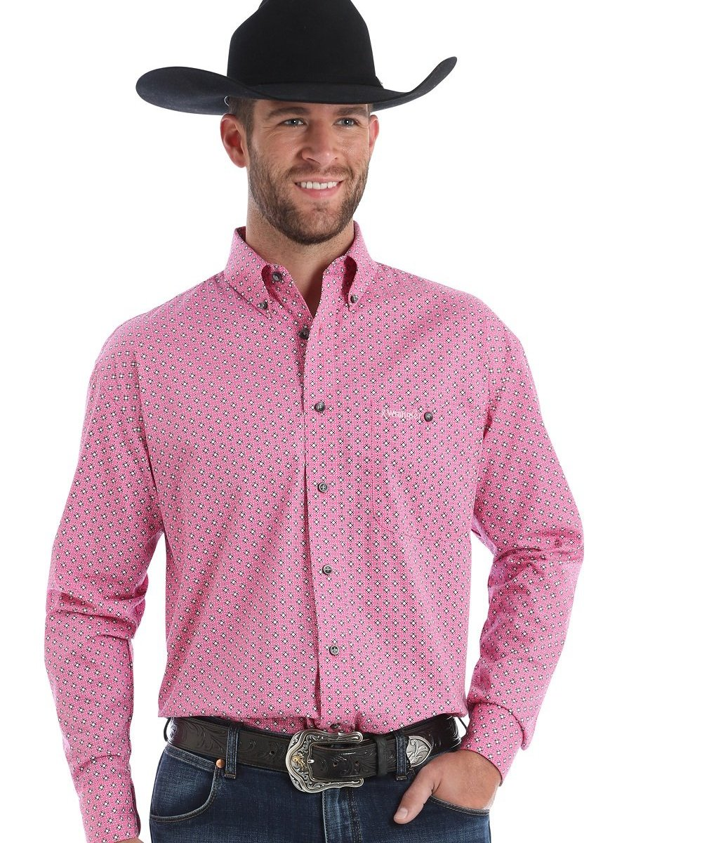 Wrangler Mens Tough Enough To Wear Pink Button Down Shirt Style