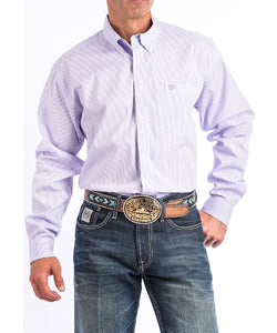 CINCH MEN'S LILAC STRIPED LONG SLEEVE BUTTON DOWN SHIRT - STYLE #MTW1104658
