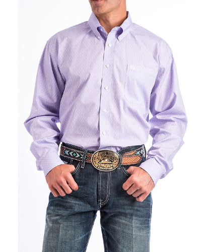 CINCH MEN'S LONG SLEEVE PURPLE PRINT BUTTON DOWN SHIRT - STYLE #MTW1104660