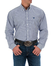 Cinch Men's Royal Blue Stripe Button Down Shirt- Style #MTW1104729
