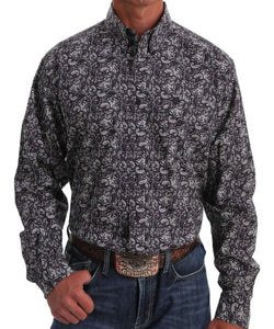 Cinch Men's Dark Purple Paisley Print Button Down Shirt- Style #MTW1105052