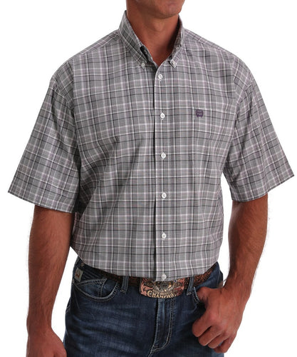 Cinch Men's Grey Plaid Button Down Shirt - Style #MTW1111342