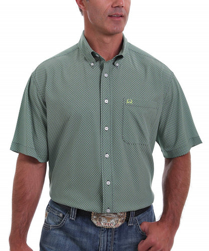 Cinch Men's Green Geo Print ArenaFlex Button Down Shirt- Style #MTW1704062