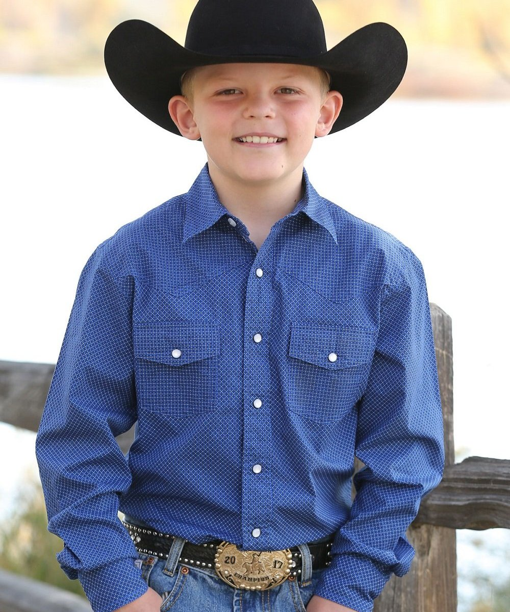 Cinch Boys' Blue Print Western Snap Shirt- Style #MTW7020064