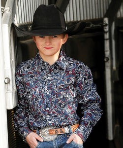 Cinch Boys' Paisley Snap Shirt- Style #MTW7020072