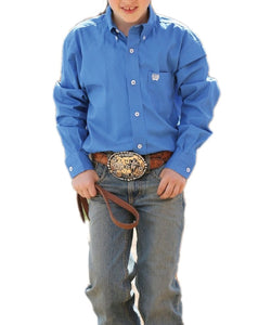 Cinch Boys' Blue Button Down Shirt- Style #MTW7060083
