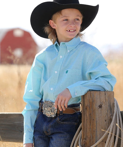 CINCH BOYS' LONG SLEEVE PRINT BUTTON DOWN SHIRT - STYLE #MTW7060178 - TEAL