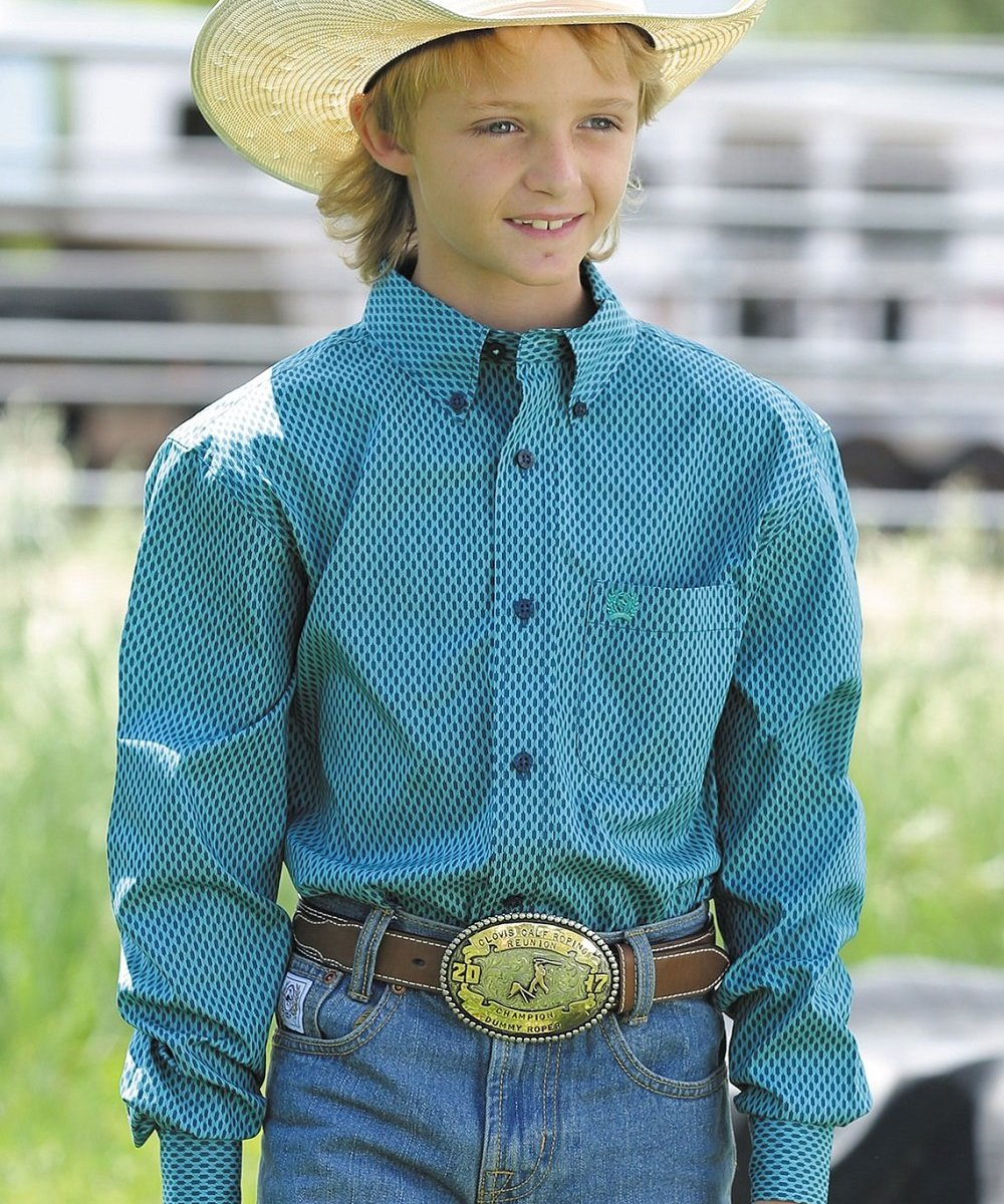 CINCH BOYS' TURQUOISE PRINT BUTTON DOWN SHIRT- STYLE #MTW7060179