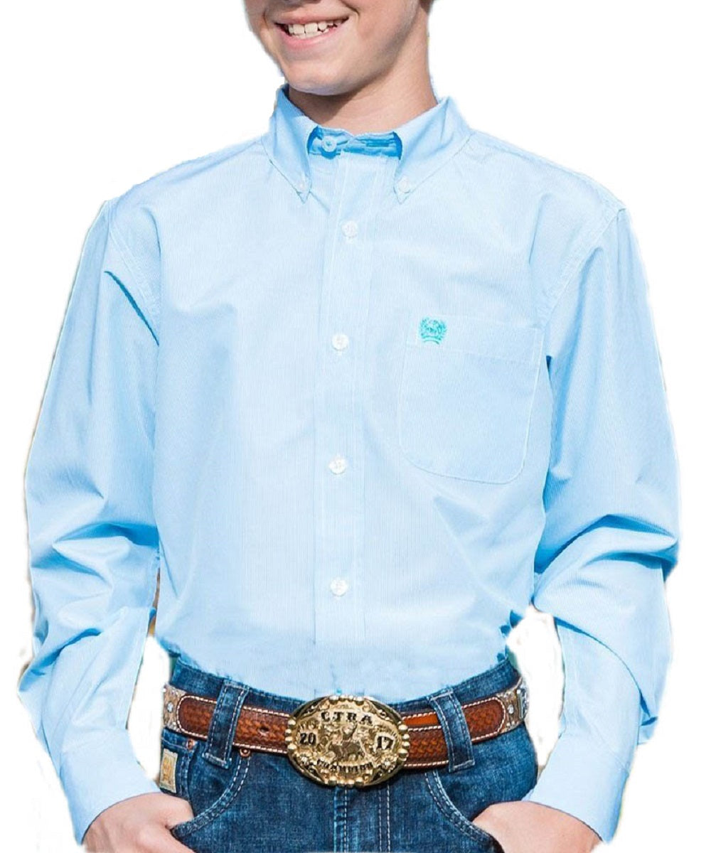 Cinch Boys ' Light Blue Micro Stripe Tencel Blend Button Down Shirt-Style #MTW7060194