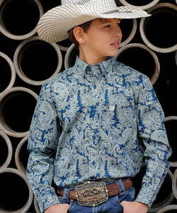 Cinch Boys' Paisley Button Down Shirt- Style #MTW7060214