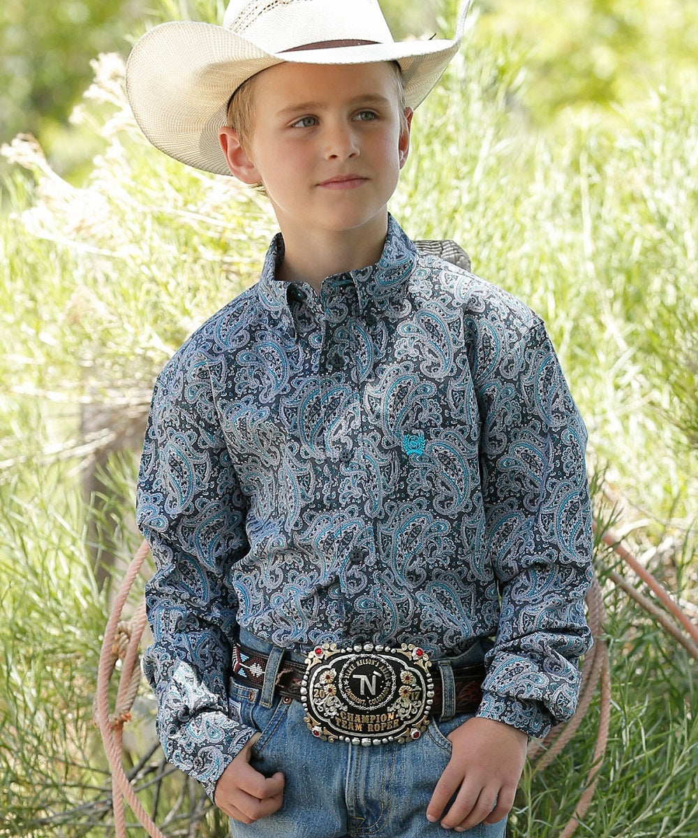 Cinch Boys' Paisley Print Button Down Shirt- Style #MTW7060233
