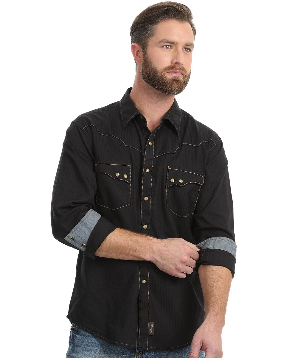 Wrangler Men's Retro Long Sleeve Retro Snap Shirt- Style #MVR249X