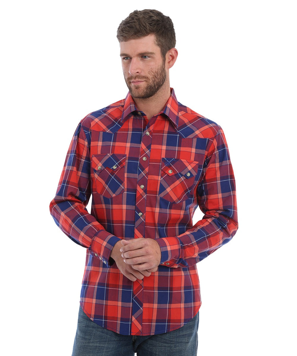 Wrangler Men's Retro Red And Navy Plaid Snap Shirt- Style #MVR399M-RED/BLUE