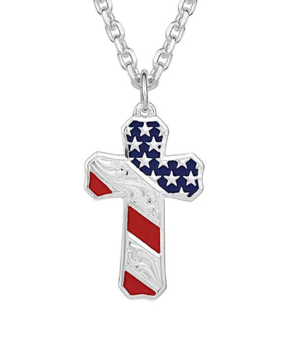 Montana Silversmiths Men's Born In The USA Patriotic Cross Necklace- Style #NC3771