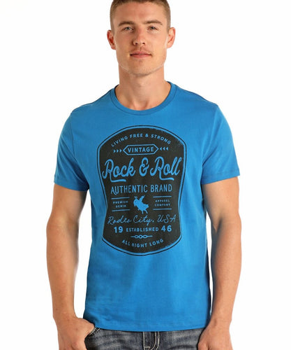PANHANDLE MEN'S ROCK & ROLL COWBOY TEE SHIRT-  STYLE #P99005
