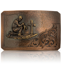 Montana Silversmiths Men's Rough Out Praying Cowboy Belt Buckle- Style #39610CBB-917L