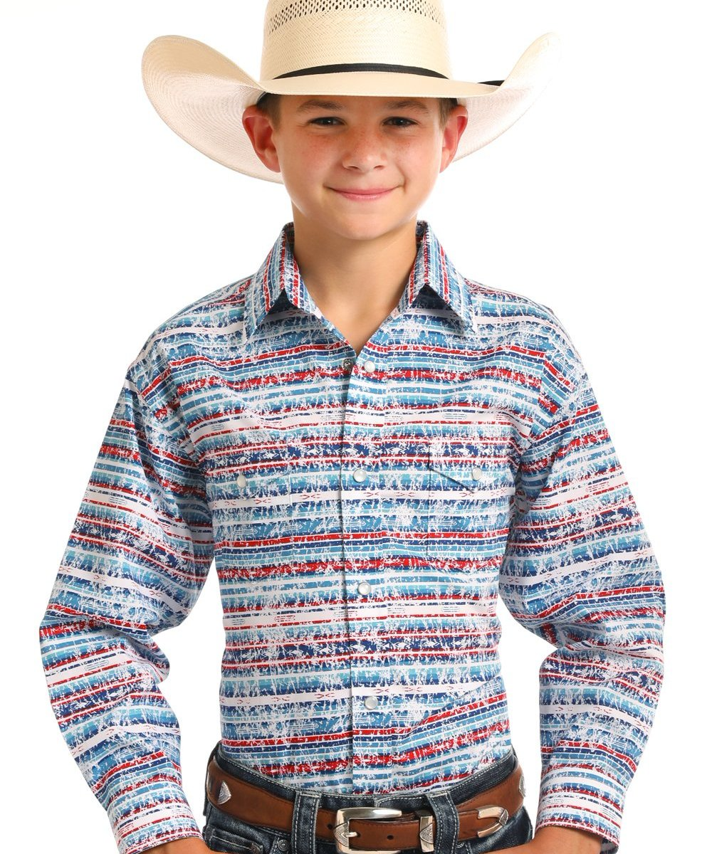 PANHANDLE SLIM BOYS' ROUGH STOCK PRINT SNAP SHIRT- STYLE #R2S6480