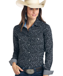Panhandle Women's Rough Stock Vintage Print Snap Shirt- Style #R4S1526